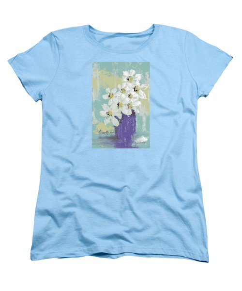 White Flowers Women's T-Shirt (Standard Cut) by P J Lewis