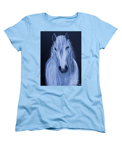 Women's T-Shirt (Standard Cut) featuring the painting White Horse by Stacey Zimmerman
