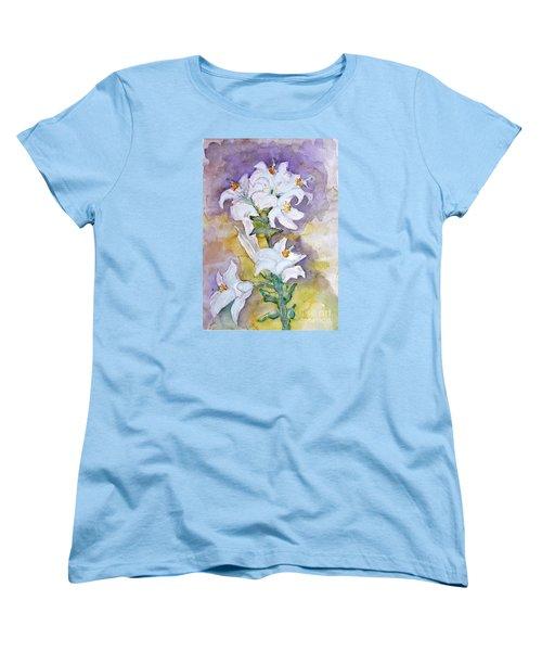 White Lilies Women's T-Shirt (Standard Cut) by Jasna Dragun