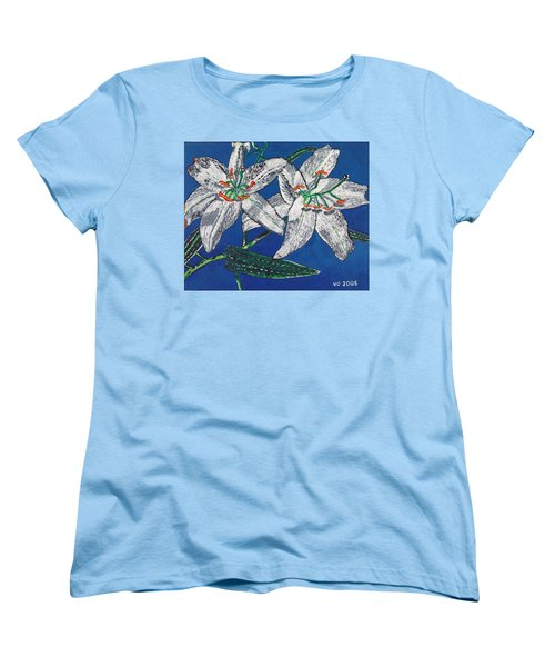 White Lilies Women's T-Shirt (Standard Cut) by Valerie Ornstein