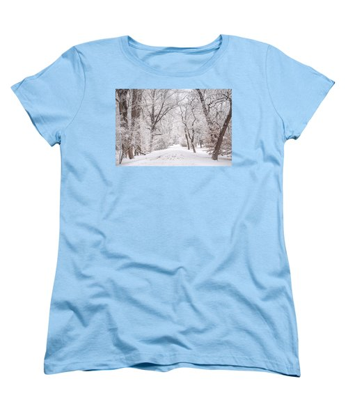 Women's T-Shirt (Standard Cut) featuring the photograph White Path To Winter Dream by Jenny Rainbow