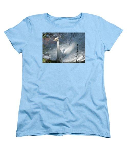 White Peacock Women's T-Shirt (Standard Cut) by Lamarre Labadie