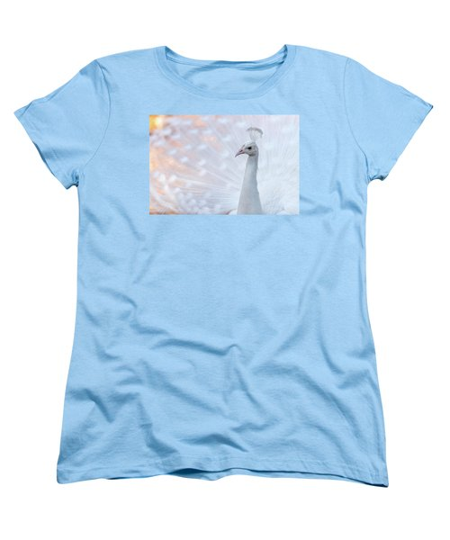 Women's T-Shirt (Standard Cut) featuring the photograph White Peacock by Sebastian Musial