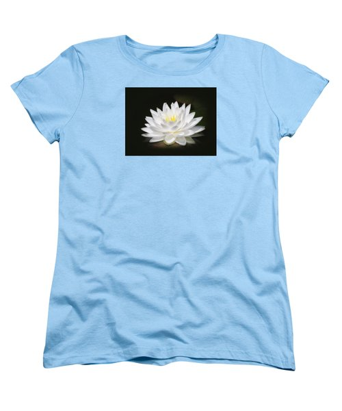 White Petals Glow - Water Lily Women's T-Shirt (Standard Cut) by MTBobbins Photography