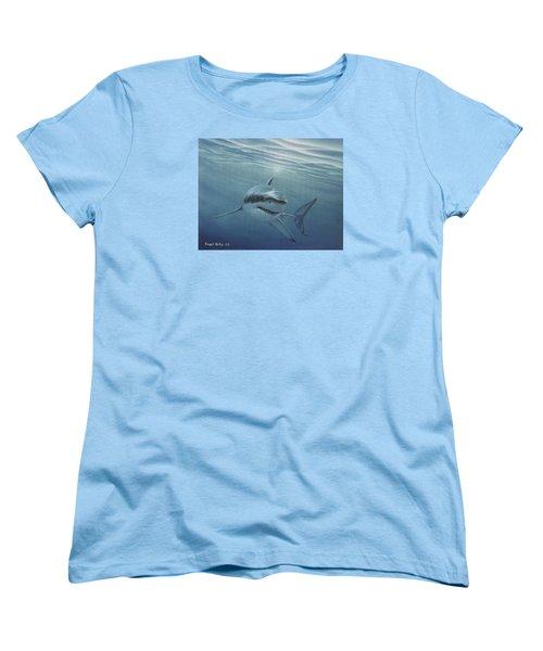 White Shark Women's T-Shirt (Standard Cut) by Angel Ortiz