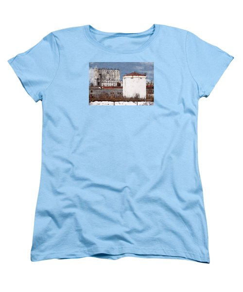 White Silo And Grain Elevator Women's T-Shirt (Standard Cut) by David Blank