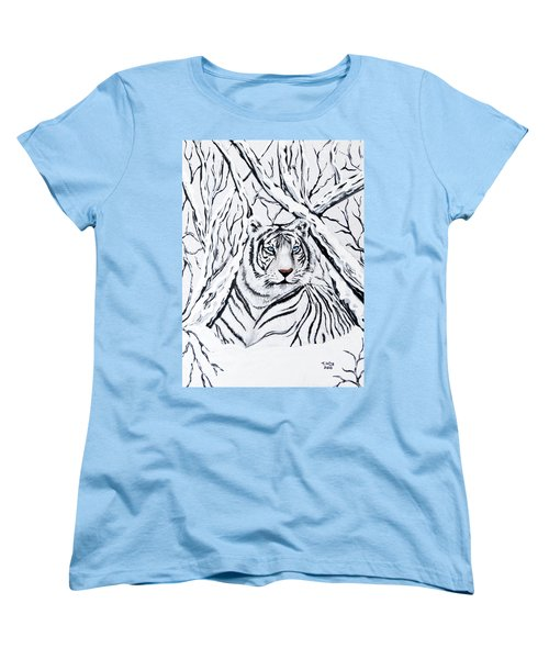 White Tiger Blending In Women's T-Shirt (Standard Cut) by Teresa Wing