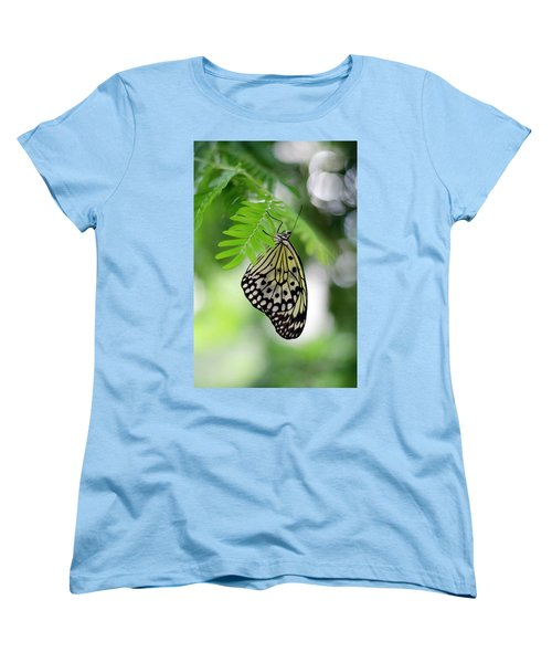White Tree Nymph Butterfly 2 Women's T-Shirt (Standard Cut) by Marie Hicks