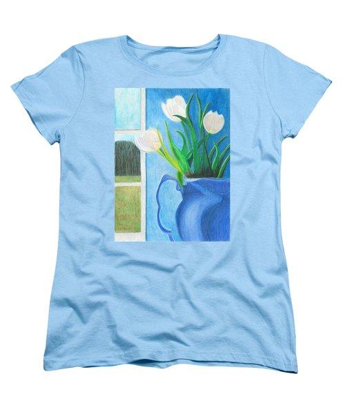 White Tulips Women's T-Shirt (Standard Cut) by Arlene Crafton