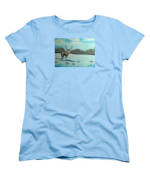Whitetail Buck Women's T-Shirt (Standard Cut) by Brenda Bonfield