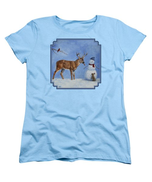 Whitetail Deer And Snowman - Whose Carrot? Women's T-Shirt (Standard Cut) by Crista Forest