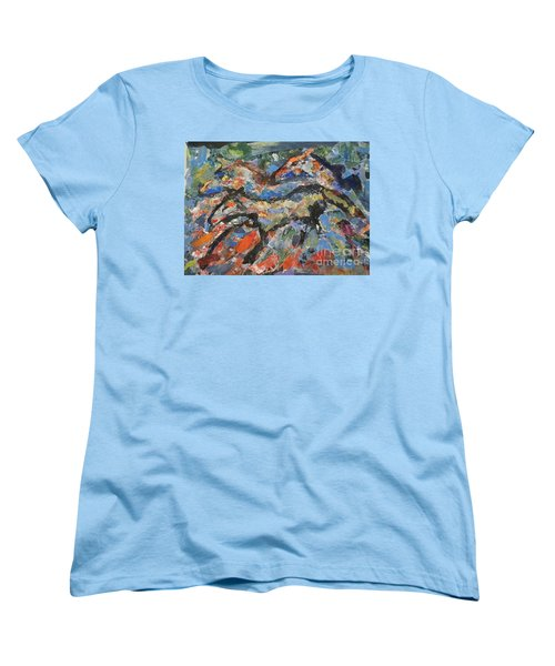 Women's T-Shirt (Standard Cut) featuring the painting Wild Horses by Ellen Anthony