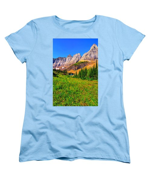 Women's T-Shirt (Standard Cut) featuring the photograph Wildflower Meadow Beneath The Ptarmigan Wall by Greg Norrell