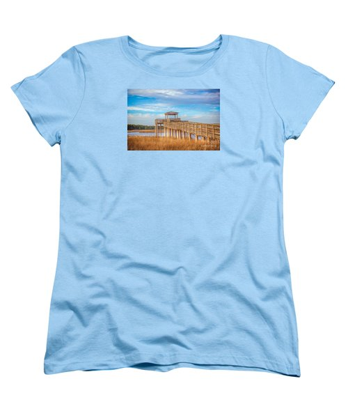 Women's T-Shirt (Standard Cut) featuring the photograph Wildlife Viewing Pier by Marion Johnson