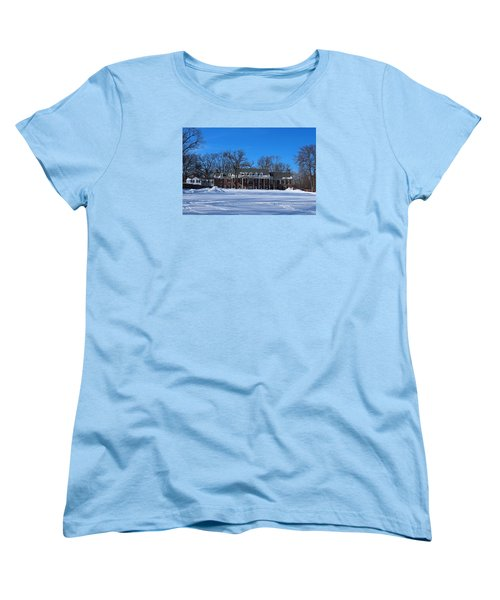 Women's T-Shirt (Standard Cut) featuring the photograph Wildwood Manor House In The Winter by Michiale Schneider