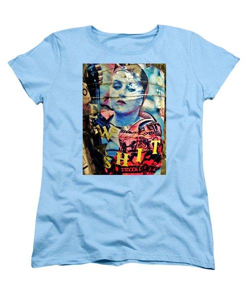 Williamsburg Brooklyn Woman Mural  Women's T-Shirt (Standard Cut) by Funkpix Photo Hunter