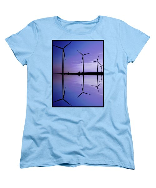 Wind Energy Turbines At Dusk Women's T-Shirt (Standard Cut) by Bob Pardue