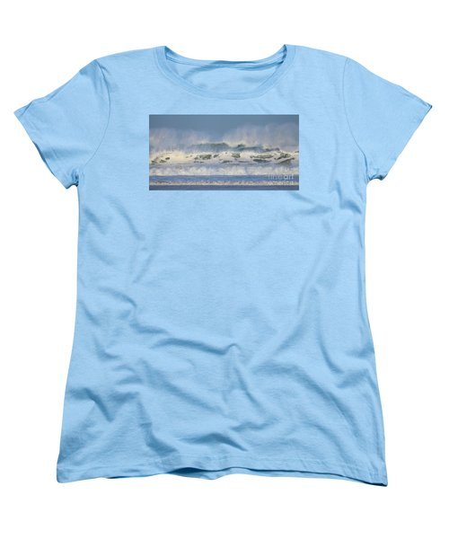 Women's T-Shirt (Standard Cut) featuring the photograph Wind Swept Waves by Nicholas Burningham