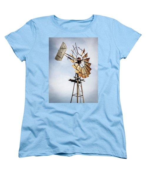 Women's T-Shirt (Standard Cut) featuring the photograph Windmill In The Sky by Dawn Romine
