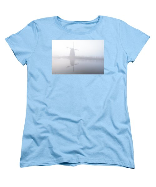 Women's T-Shirt (Standard Cut) featuring the photograph Windmill Reflection by Phyllis Peterson