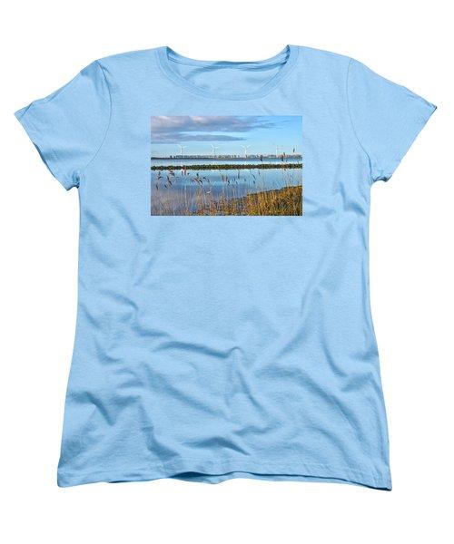 Windmills On A Windless Morning Women's T-Shirt (Standard Cut) by Frans Blok