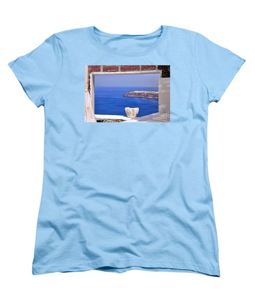 Window View To The Mediterranean Women's T-Shirt (Standard Cut) by Madeline Ellis