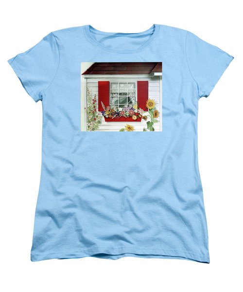 Windowbox With Cat Women's T-Shirt (Standard Cut) by Bonnie Siracusa