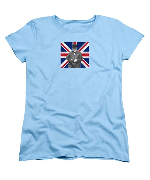 Winston Churchill And His Flag Women's T-Shirt (Standard Cut) by War Is Hell Store