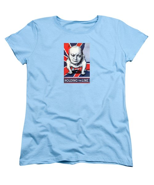 Women's T-Shirt (Standard Cut) featuring the painting Winston Churchill Holding The Line by War Is Hell Store