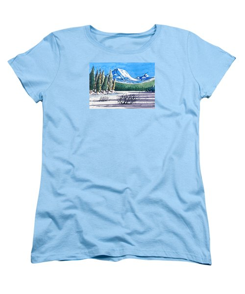 Women's T-Shirt (Standard Cut) featuring the painting Winter At Mt. Lassen by Terry Banderas