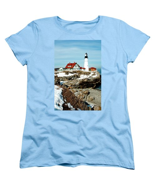 Winter At Portland Head Women's T-Shirt (Standard Cut)