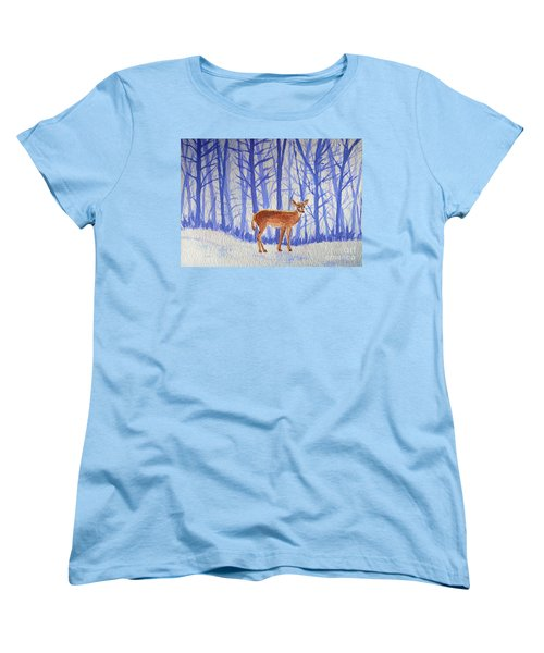 Women's T-Shirt (Standard Cut) featuring the painting Winter Begins by Li Newton