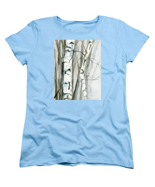 Women's T-Shirt (Standard Cut) featuring the painting Winter Birch by Laurie Rohner