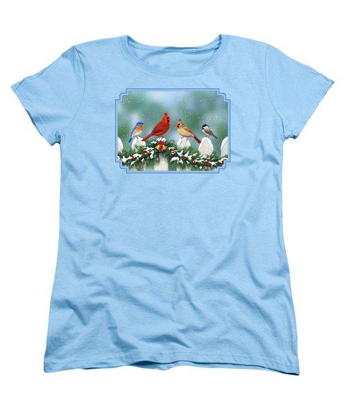 Winter Birds And Christmas Garland Women's T-Shirt (Standard Cut) by Crista Forest