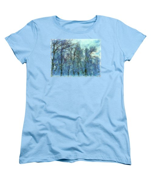 Winter Blue Forest Women's T-Shirt (Standard Cut)