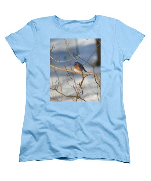 Winter Bluebird Art Women's T-Shirt (Standard Cut) by Smilin Eyes  Treasures