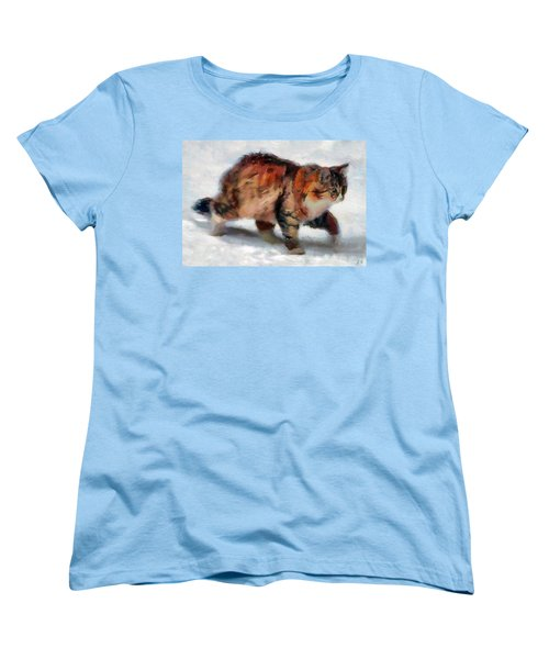 Winter Cat Women's T-Shirt (Standard Cut) by Sergey Lukashin