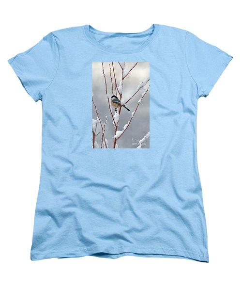Winter Chickadee Women's T-Shirt (Standard Cut) by Diane E Berry