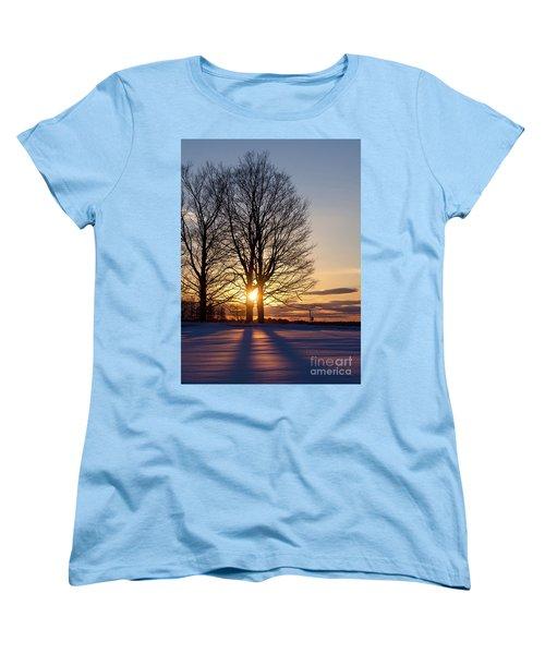 Women's T-Shirt (Standard Cut) featuring the photograph Winter, Crystal Spring Farm, Brunswick, Maine -78592 by John Bald