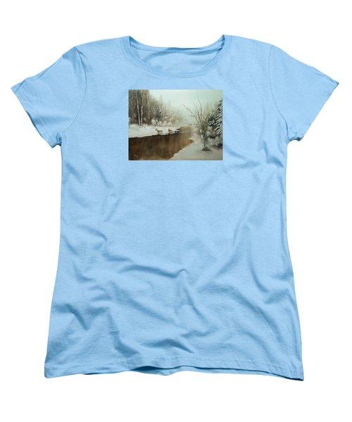 Winter Deer Run Women's T-Shirt (Standard Cut) by Chris Fraser