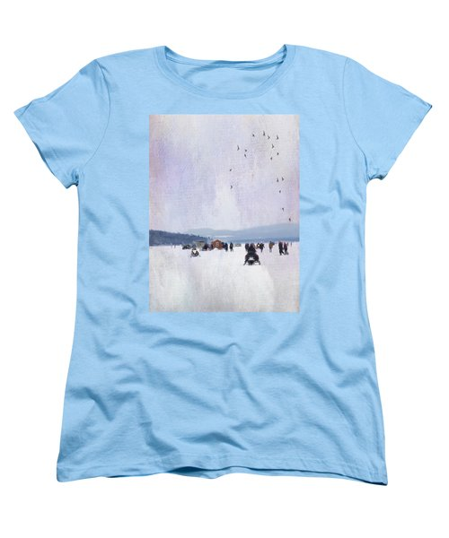 Winter Fun On The Lake Women's T-Shirt (Standard Cut) by Betty Pauwels