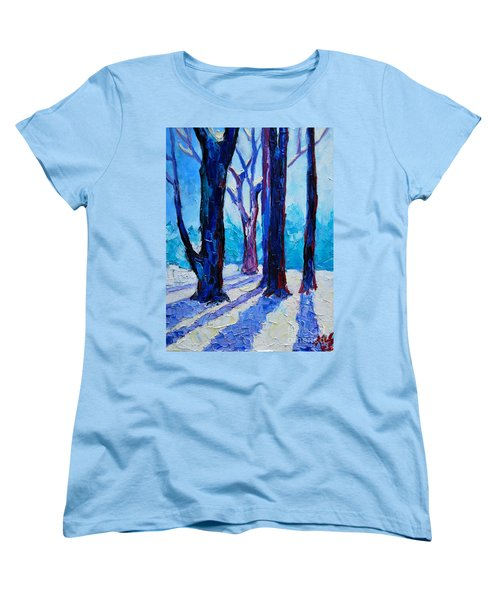 Women's T-Shirt (Standard Cut) featuring the painting Winter Impression by Ana Maria Edulescu
