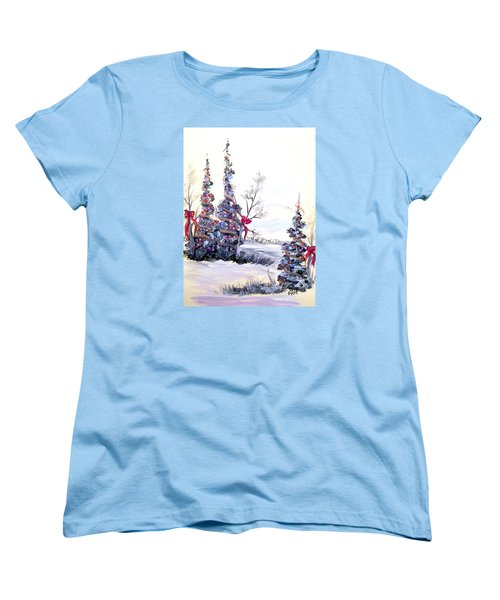 Women's T-Shirt (Standard Cut) featuring the painting Winter Joy by Dorothy Maier