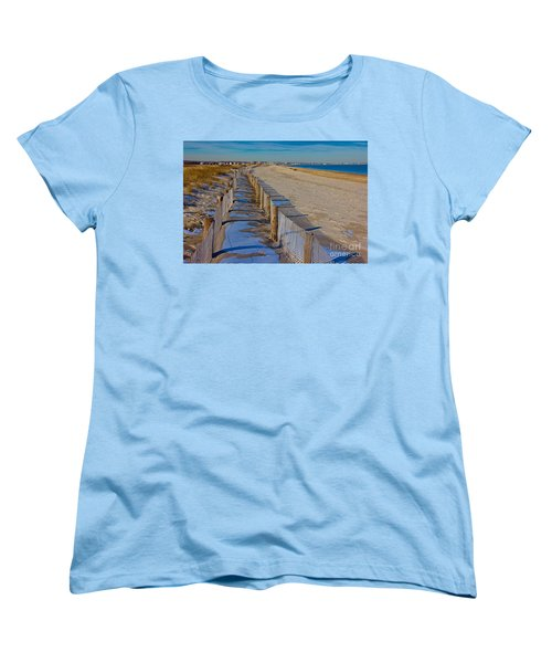 Winter On Duxbury Beach Women's T-Shirt (Standard Cut) by Amazing Jules