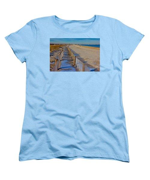 Winter On Duxbury Beach Women's T-Shirt (Standard Cut)