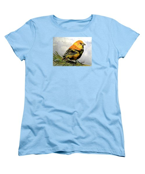 Women's T-Shirt (Standard Cut) featuring the painting Winter Plumage On Golden Finche by Carol Grimes