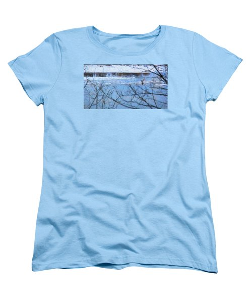 Winter River Women's T-Shirt (Standard Cut) by Kathy Bassett