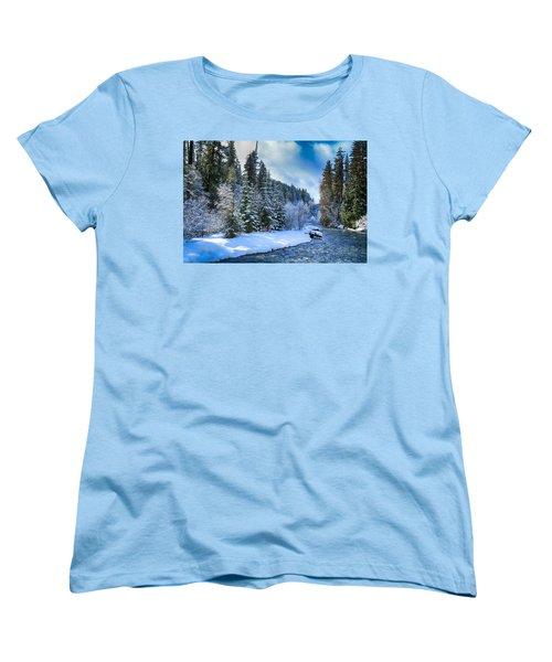 Winter Scene On The River Women's T-Shirt (Standard Cut) by Lynn Hopwood
