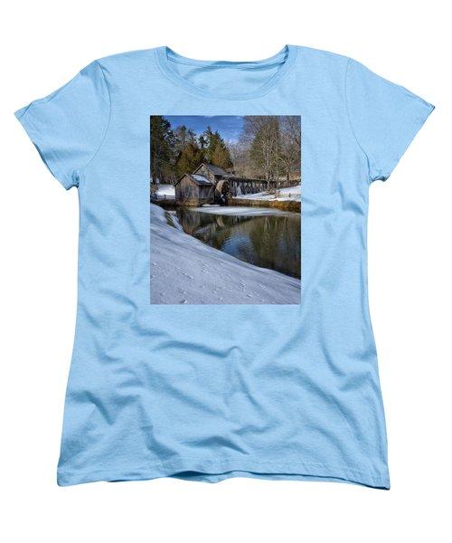 Winter Snow At Mabry Mill Women's T-Shirt (Standard Cut) by Steve Hurt
