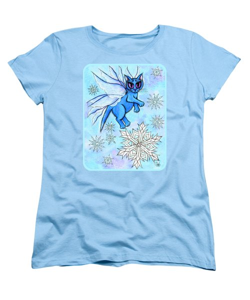 Women's T-Shirt (Standard Cut) featuring the painting Winter Snowflake Fairy Cat by Carrie Hawks